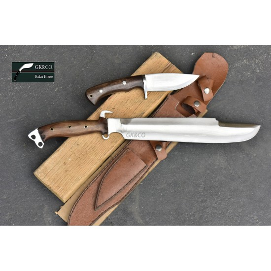 14 Inch  Predator EUK Survival Machete Military Knife with small utility Handmade-In Nepal by GK&CO. Kukri House