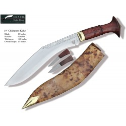 Genuine Gurkha Kukri Knife - 10. Inch Blade Chainpure Village Wooden Handle Kukri - Handmade by GK&CO. Kukri House in Nepal.