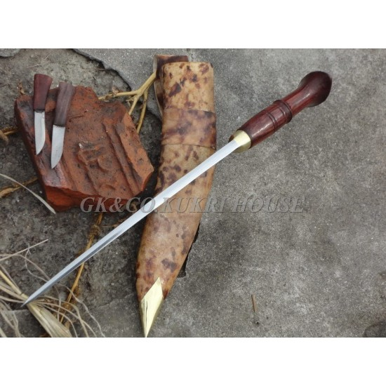 Genuine Gurkha Kukri Knife - 10. Inch Blade Chainpure Village Wooden Handle Kukri - Handmade by GK&CO. Kukri House in Nepal.