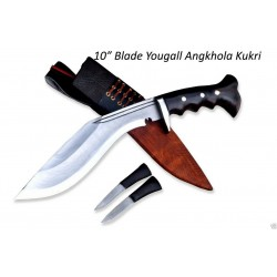 Hand Forged Kukri - 10 Inch Yougall Angkhola Kukri  Yak leather Case Handmade knife-In Nepal by GK&CO. Kukri House