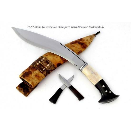 Genuine Gurkha  Knife - 10.5 Inch GK&CO New Version  Chainpure Village Wooden and Bone Handle Kukri - Handmade by GK&CO. Kukri House in Nepal.