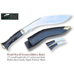 "Official Issued -Genuine Gurkha Kukri Knife - 11"" Blade 2nd World War II Highly Polished Kukri - Handmade by GK&CO. Kukri House in Nepal."