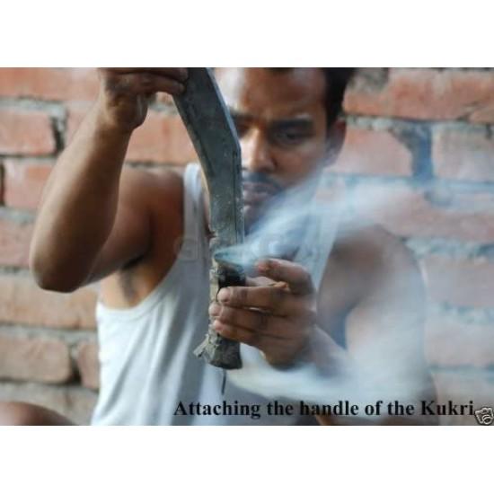 "Official Issued -Genuine Gurkha Kukri Knife - 11"" Blade 2nd World War II Gripper Wood Handle - Handmade by GK&CO. Kukri House in Nepal."