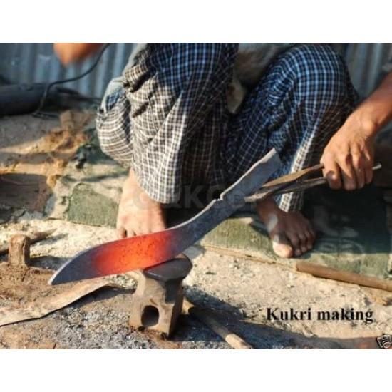 "R&T Trading Co. Genuine Gurkha Kukri - 11"" Authentic AEOF Gurkha Afghan Issue Brown Sheath Khukuri- Handmade in Nepal by Gurkha Kukri House - Imported"