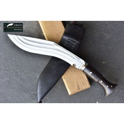 "12"" Tin Chirra (3 Fuller) Genuine Gurkha Kukri Rose Wooden Handle Hand Made knife-In Nepal by GK&CO. Kukri House"