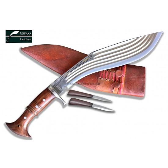 "Genuine Gurkha 14 Inch  5"" Chirra (5 Fuller) Full Tang  Yak leather Sheath In Nepal by GK&CO. Kukri House"