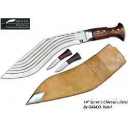 14 Inch Blade 5 Chirra (5 fuller) Genuine Gurkha Kukri Knife- Semi-polished Hand Made knife-In Nepal by GK&CO. Kukri House