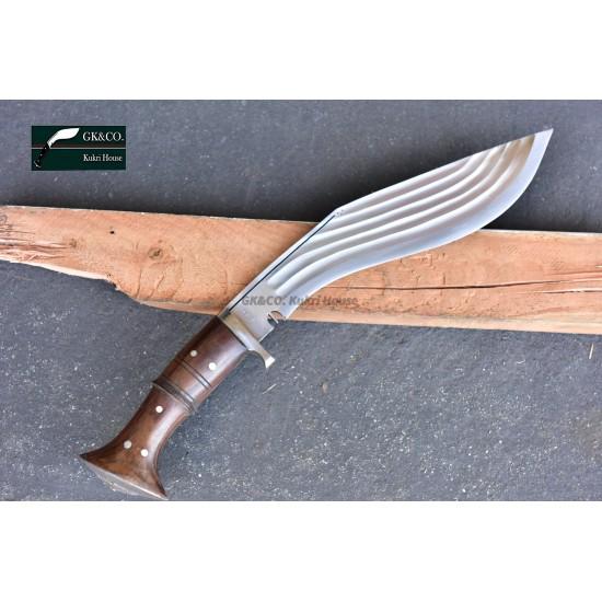 14 Inch Blade 5 Chirra (5 fuller) Genuine Gurkha Kukri Blocker Handle- Semi-polished Handmade-In Nepal by GK&CO. Kukri House