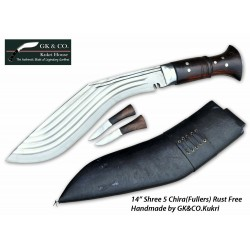 14 Inch Blade 5 Chirra (5 fuller) Genuine Gurkha Kukri Black Case- Semi-polished Handmade-In Nepal by GK&CO. Kukri House