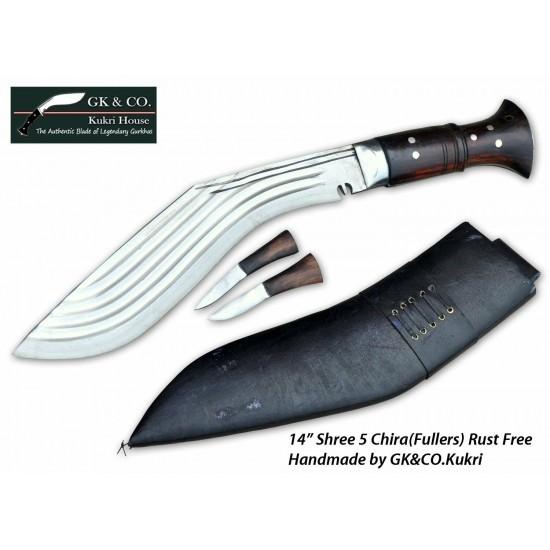 14 Inch Blade 5 Chirra (5 fuller) Genuine Gurkha Kukri Black Case- Semi-polished Handmade-In Nepal by GK&CO. Kukri House
