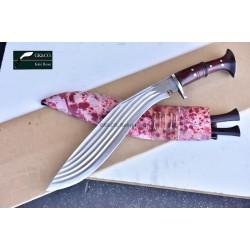 16 Inch Blade 5 Chirra (5 fuller) Genuine Gurkha Kukri Blocker Handle- Semi-polished Handmade-In Nepal by GK&CO. Kukri House