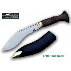 Genuine Gurkha Kukri - 5 Inch Blade Biltong Wooden Handle Kukri- Handmade by GK&CO. Kukri House in Nepal.