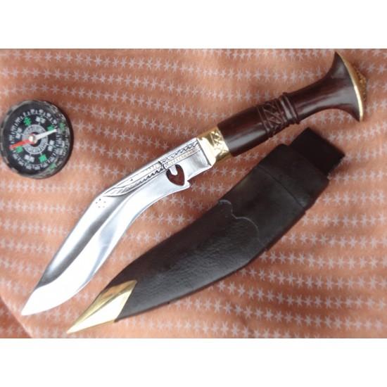 "5"" Blade Cheetlange Special Kukri-Rat Tail Tang Rosewood Handle Black Leather Sheath"