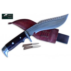 Genuine Gurkha 8 Inch Blade American Eagle Dragon Rose Wooden Handle Red Case Hand Made knife-In Nepal by GK&CO. Kukri House
